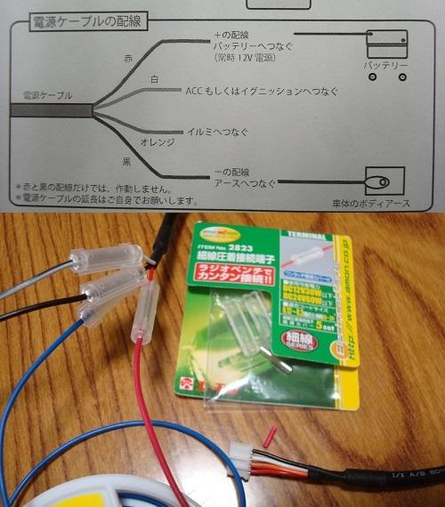 メーター側の配線図と延長